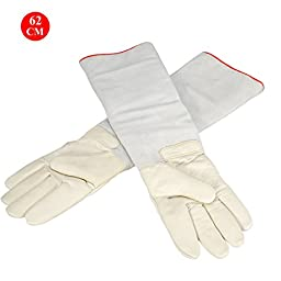 OFTEN® Ultra Long Cryogenic Gloves Waterproof Protective Gloves Liquid Nitrogen Frozen Gloves Cold Storage,White,24.41\