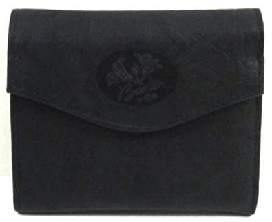 Buxton Womens Leather Mini Trifold Wallet with Floral Emboss, Black