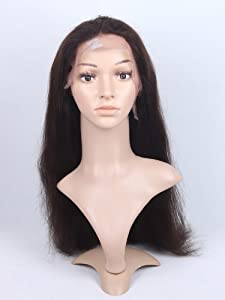 1688 Hair Front Lace Wig 100% Real Human Hair Remy Indian Hairs Handmade Pop Wigs Natural Straight 20 Inch (2# Dark Brown)