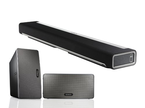 Sonos Playbar Tv Soundbar And Two Play:3 Wireless Speakers (Black) Package