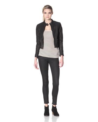 Evans Leather Motto Jacket  - Black