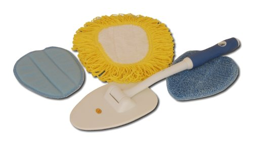 Microfiber Car Care No Bonnet 4 Pieces Kit For Windshield And Glass Cleaning Inside And Out Includes A Swiveling Wand, A Duster, A Wet Pad And A Drying And Polishing Pad.