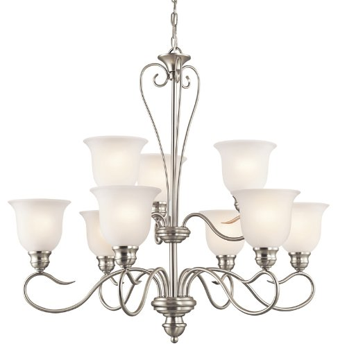 Kichler Lighting 42907NI Tanglewood 9-Light Chandelier, Brushed Nickel Finish with Satin Etched Glass
