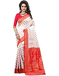 Shree Sanskruti Embellished Crepe Silk White And Red Color Saree For Women With Blouse Piece