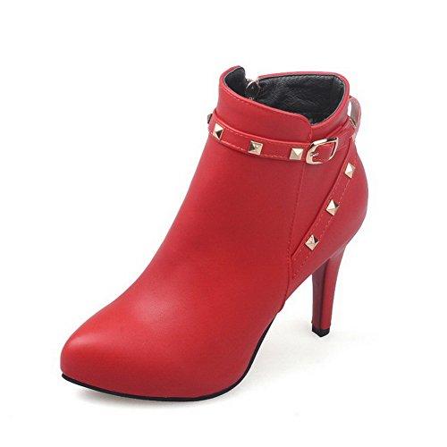 AgooLar Donna Puro Tacco Alto Scarpe A Punta Luccichio Cerniera Stivali con Rivetto, Rosso, 37