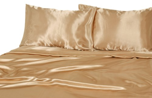 Elite Home Products Collection Silky Luxurious Woven Satin 4-Piece Sheet, Full, Gold (Satin Gold Sheets compare prices)