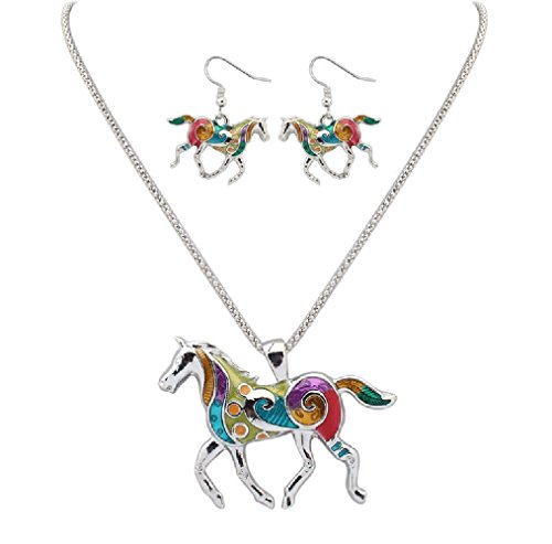 charms-silver-and-gold-horse-dangle-earrings-and-necklace-jewelry-sets-for-teen-girls-women-silver