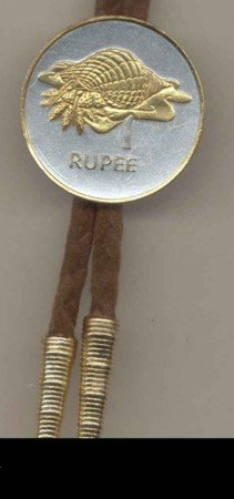 Gorgeous 2-Toned Gold on Silver Conch World Coin Bolo-Tie BT-179