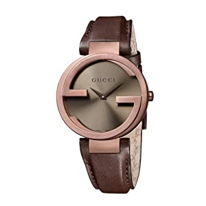 Gucci Interlocking G Collection Women's Quartz Watch with Brown Dial Analogue Display and Brown Leather Strap YA133309