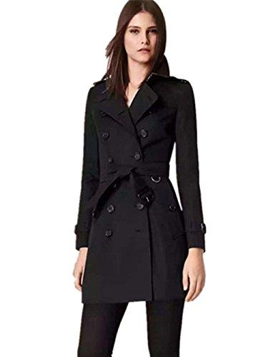 Coffeepop Bodycon da donna Fashion Trench Giacca invernale caldo Outwear nero medium