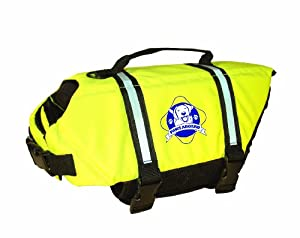 Paws Aboard Large Designer Doggy Life Jacket, Neon Yellow