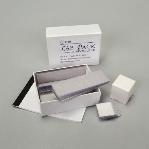 Disposable Lab Pack: 50 Slides, 50 Plastic Coverslips, And Lens Paper Booklet