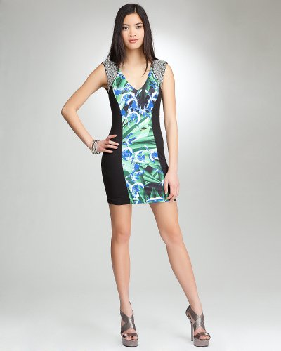 Bebe Rhinestone Trim Print Dress   bebe Addiction ORCHIDS AT
