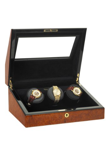 Orbita Watch Winders The Siena 3 Burlwood - Watch Winder for Three Watches By Orbita
