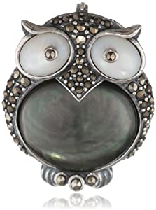 Sterling Silver Oxidized Marcasite, Grey and White Shell Owl Pin