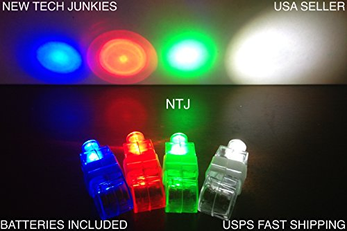 NTJ (20 Pack) Mixed Colors LED Finger Laser Lights Glow Ring Flashlight Party Club Rave Dance Bike Laser Beam Flash - 1
