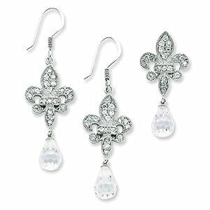 Sterling Silver Fleur-de-lis CZ Earring and Pendant Set