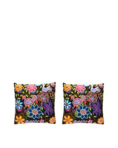Uptown Down Set of 2 Hand-Embroidered Accent Pillows, Pink/Blue/Multi