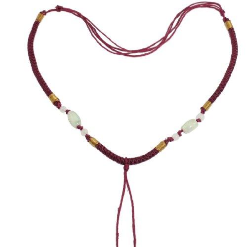 Rosallini 5 Pcs Burgundy Braid Beads No Pendant Necklace Sautoir String Chain