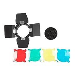 Godox BD-03 Barn Door Kit 4 flips Barn Door with Honeycomb Grib, 4 Color Filters(Blue, Yellow, Red & Green) for Photo Studio Flash