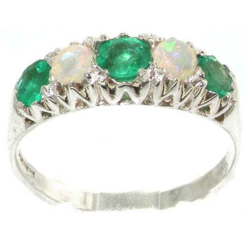 Solid English Sterling Silver Natural Emerald & Opal Vintage Style Ring - Size 11.75 - Finger Sizes 4 to 12 Available - Suitable as an Anniversary ring, Engagement ring, Eternity ring, or Promise ring