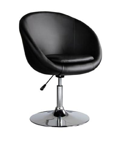 International Design USA Barrel Adjustable Swivel Leisure Chair, Black