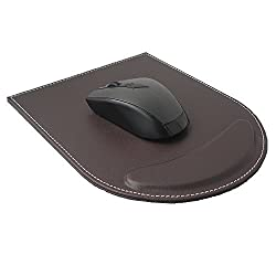 """KINGFOMâ""""¢ PU Leather Mouse Pad Mice Pad Mat with Wrist Comfort Rest Computer Desk Accessories(Brown)"""