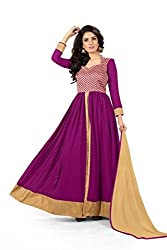 BanoRani Faux Georgette Magenta Color Semi Stitched Full Length Anarkali Gown Style Salwar Suit