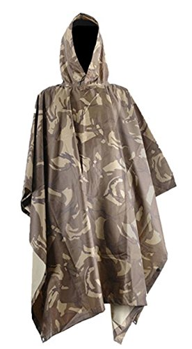 IDEAS Multifunction Military Emergency Rain Poncho,camouflage Raincoat(desert)