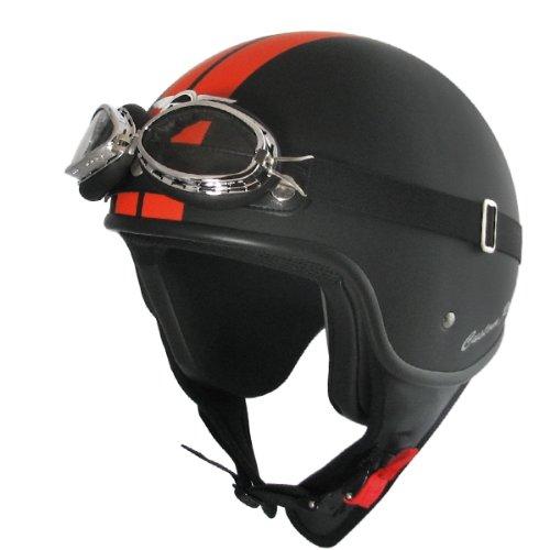 Casque jet custom rider casque (noir/orange mat)