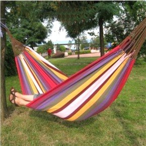 190*150cm Portable Stripes Pattern Thickened Canvas Double-person Hammock for Outdoor Camping (Color Optional)