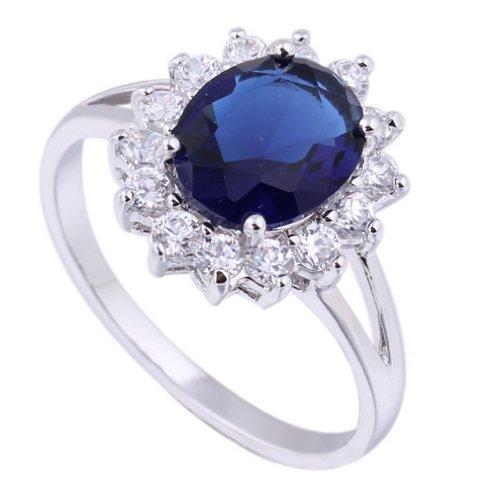C-Princessリング 指輪18Kゴールドメッキ コーティン ブルーラインストーン 人造宝石 レディース 女性 アクセサリー ジュエリー ウェディング エンゲージリング 眩しい (12)