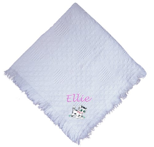Kitten White 100% Cotton Custom Embroidered Personalized Baby Blanket Hot Pink Thread front-1021176