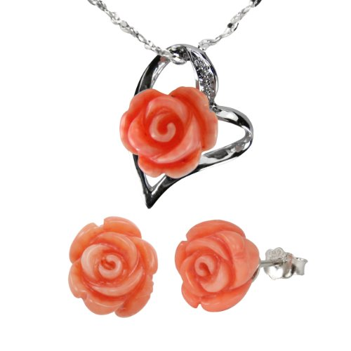 "Red Coral Rose Heart Shaped Silver Platinum Overlay CAREFREE Sterling Silver Pendant Necklace and Stud Earrings Set (16"")"
