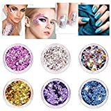 Kitymate 6 Colors/Set Makeup Holographic Glitter Chunky Sequins Eye Shadow Body Nail Glitter Face Lips Hair Nail Art For Party Festival (01#) (Color: 01#)