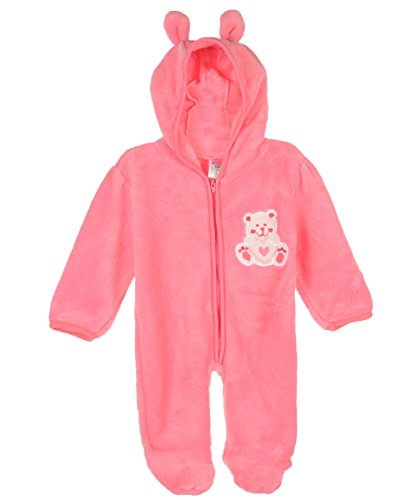 "Coney Isle Baby Girls' ""Teddy & Heart"" Pram Suit - Pink, 6 - 9 Months front-30961"