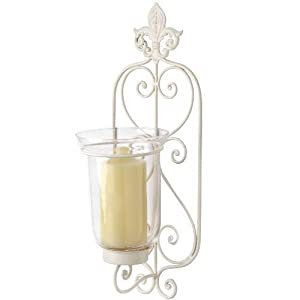 Wall Sconce Mounted Cream Metal Shabby Chic Swirled Candle Holder - With Glass candle holder ...