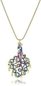 "Betsey Johnson ""Morocco Adventure"" Peacock Pendant Necklace"