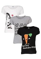 Goodway Junior Girls Stye-5- Black, White, Grey - Combo Pack of 3 T-Shirts - 3-4 Years
