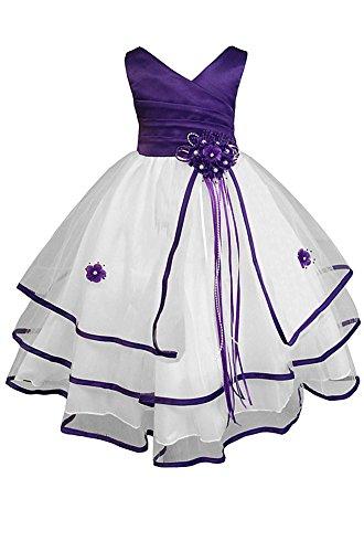 Amj Dresses Inc Big Girls Purple Flower Pageant Dress Size 14