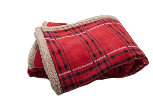 The Johnny Red Plaid Throw With Faux Sherpa Reverse front-198356