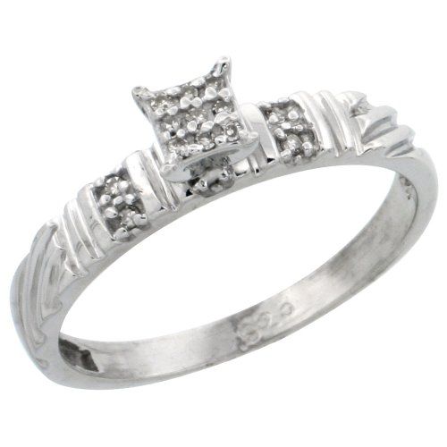 Sterling Silver Diamond Engagement Ring 0.06 cttw Brilliant Cut, 1/8in. 3.5mm wide, Size 8