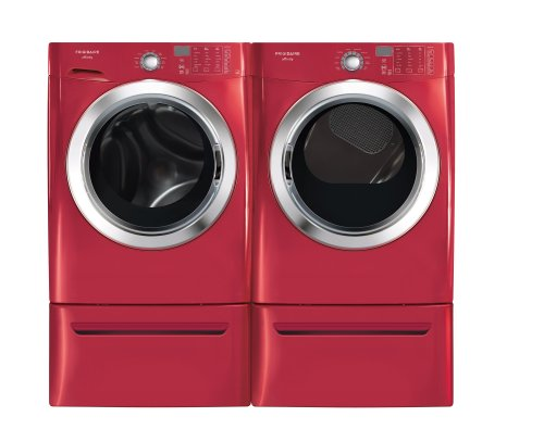 Frigidaire Affinity Red 3.8 Cu. Ft. Front Load Steam Washer & 7.0 Cu. Ft. Electric Steam Dryer Laundry Set With Pedestals Fafs4073Nr_Fase7073Nr_Cfpwd15R