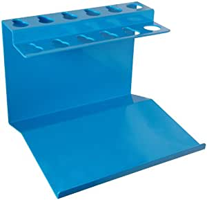 "Bel-Art Scienceware 189620004 Aluminum Poxygrid Microliter Pipettor Rack with Tip Tray, 9"" Length x 7-7/8"" Width x 6-3/4"" Height"