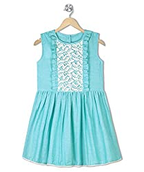 Budding Bees Girls Green & White Printed Fit & Flare Dress