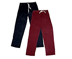 IndiWeaves Women's Stretchable Premium Cotton Lower/Track Pant(Pack of 2)_Black::Maroon_Free Size