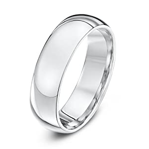 Theia 9ct White Gold - Super Heavy Court Shape - Highly Polished - 6mm Wedding Ring for Men or Women - Size S