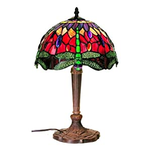 Warehouse of Tiffany's Tiffany Style Dragonfly Table Lamp, Red and Blue 18-Inch at Sears.com