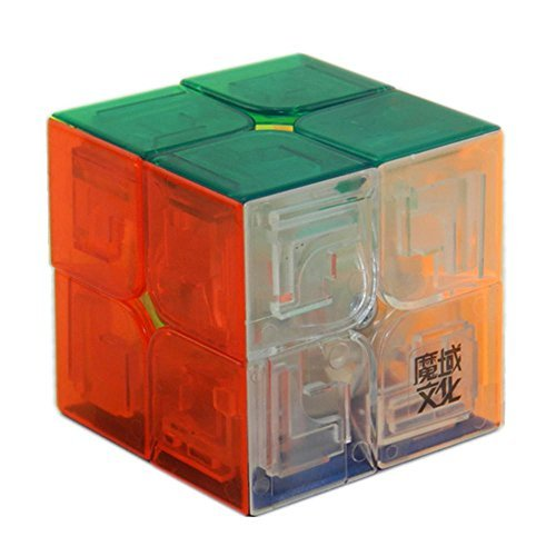 D-FantiX Moyu Lingpo Speed Cube 2x2x2 Stickerless Puzzle Toys Smooth Magic Cube (50mm) Transparent