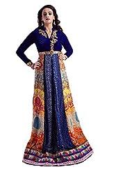 Clickedia Women Digital Printed With Zardosiwork Blue Semi Stitched Gown